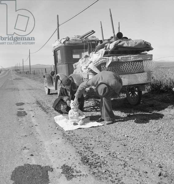 Missouri family after the drought near Tracy, California, 1937 (b/w photo)
