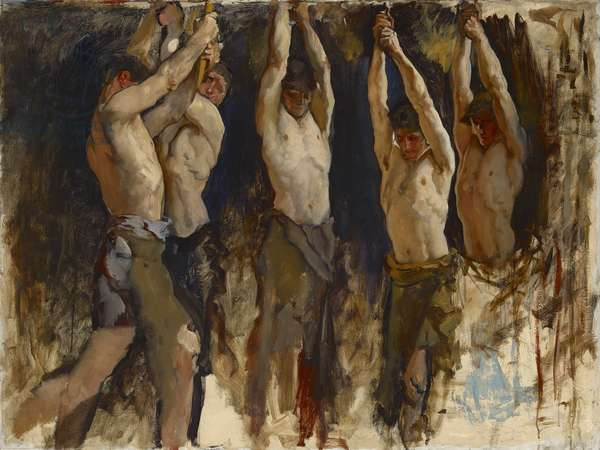 Men at an Anvil, study for The Spirit of Vulcan, c.1904-8 (oil on canvas)