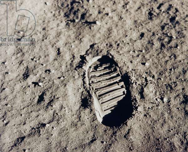 Aldrin's footprint on the moon, 1969 (b/w photo)