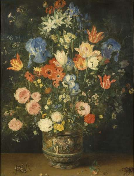 Still Life with Flowers in a Sculpted Jar, c.1620-24 (oil on panel)