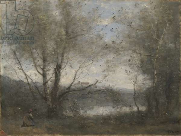 A Pond Seen Through the Trees, c.1855-65 (oil on canvas)