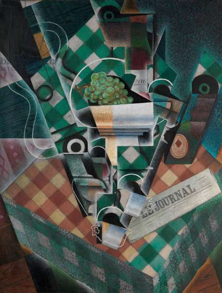 Still Life with Checked Tablecloth, 1915 (oil and graphite on canvas)