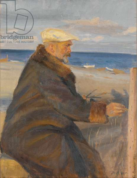 Michael Ancher Painting on the Shore, 1901 (oil on canvas)