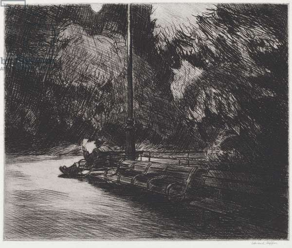 Night in the Park, 1921 (etching)