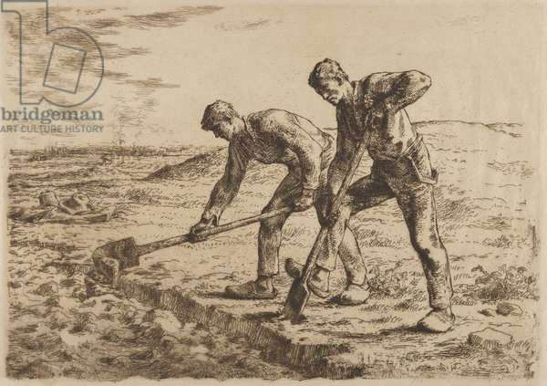 The Diggers, c.1855 (etching)