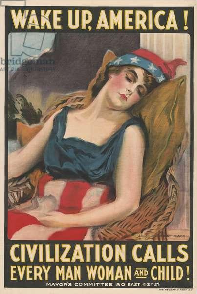 "Portrait of Lady Liberty Sleeping, ""Wake Up America!, Civilization Calls Every Man, Woman and Child!"", World War I Recruitment Poster, USA, 1917"