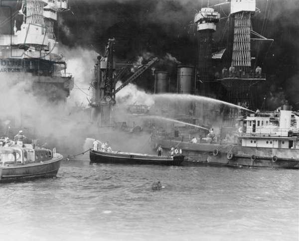 USS West Virginia ablaze at Pearl Harbor, 1941 (b/w photo)