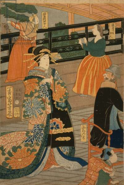 Visitors from several nations enjoying a party in the Fan Room of the Gankirō, 1860 (woodblock print)