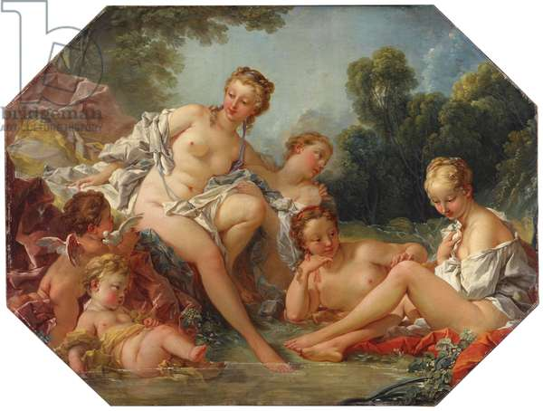 Venus in her Bath surrounded by Nymphs and Cupids, c.1740-50 (oil on canvas)