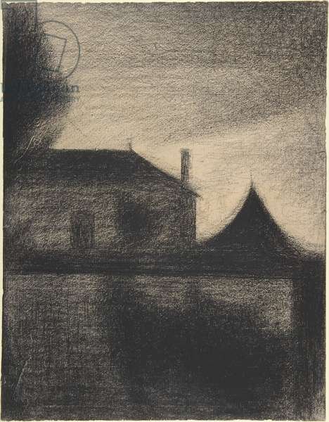 House at Dusk, 1881-82 (conte crayon)