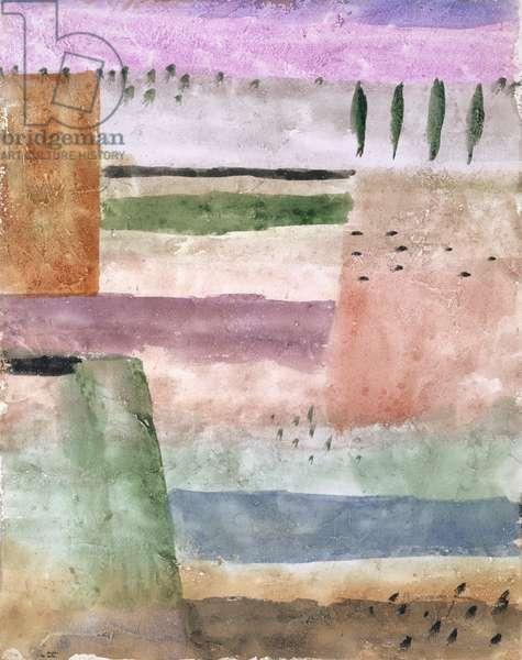 Landscape with Poplars, 1929 (w/c on paper on cardboard)