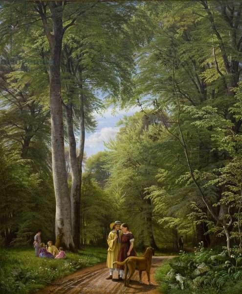 A Beech Wood in May near Iselingen Manor, Zealand, 1857 (oil on canvas)