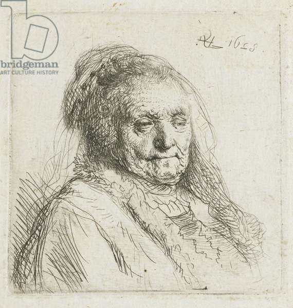 Rembrandt's mother, head and shoulders, three-quarters to the right, 1628 (etching)
