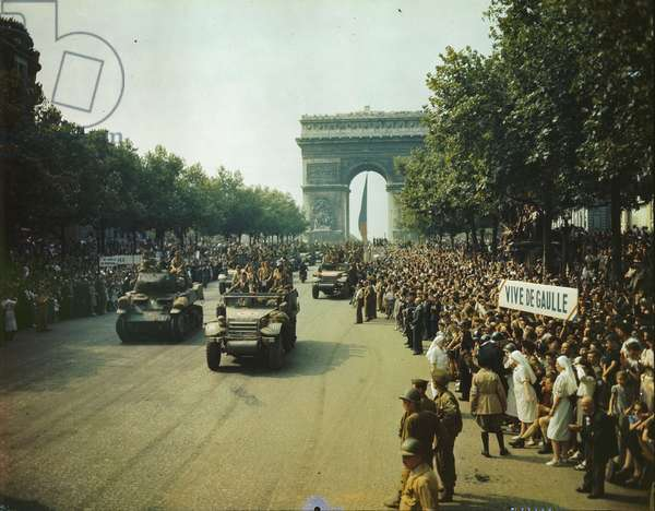 Liberation of Paris, August 26th 1944 (colour photograph)