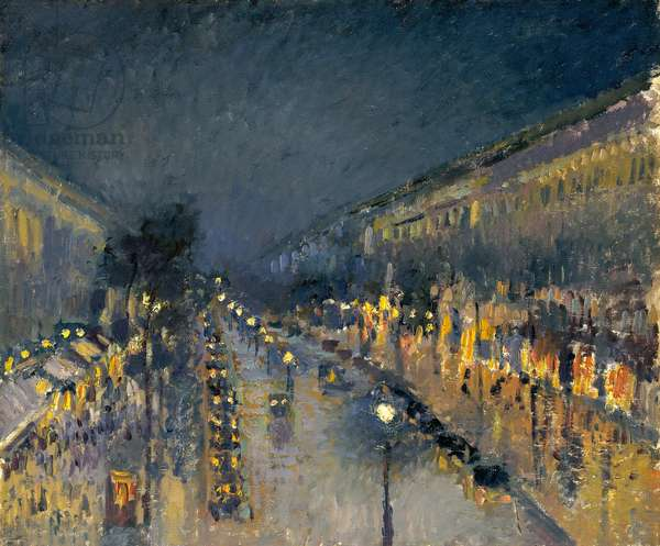 The Boulevard Montmartre at Night, 1897 (oil on canvas)