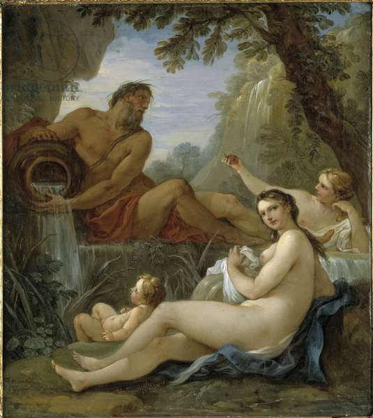 Rivergod and Spring Nymph (oil on canvas)