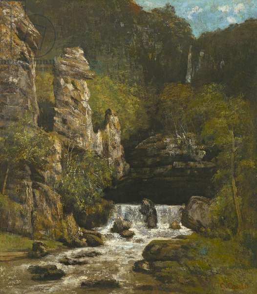 Landscape with a Waterfall, c.1865 (oil on canvas)
