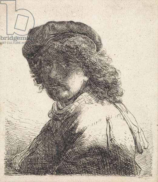 Rembrandt van Rijn in beret and scarf (pen and ink on paper)