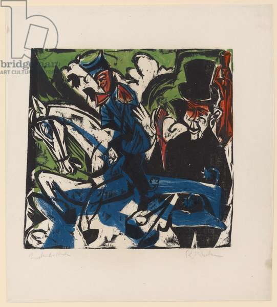 Illustration for 'Peter Schlemihl' by Adalbert von Chamisso, 1915 (colour woodcut)