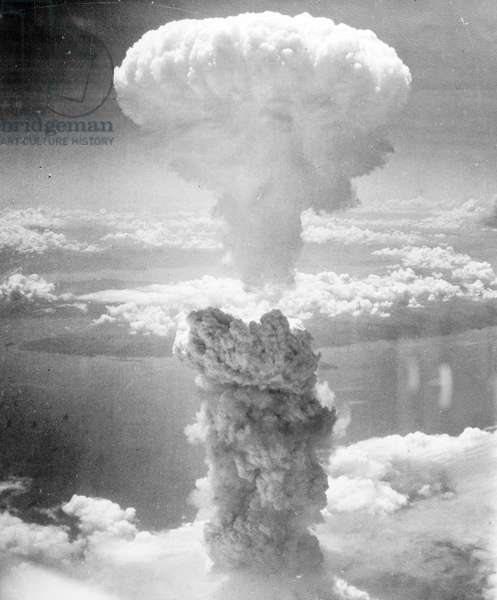 Atomic bombing of Nagasaki by American B-29 superfortresses on August 9th 1945 (b/w photo)