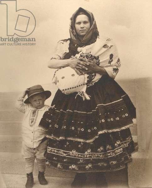 Slovak woman and children, c.1910 (b/w photo)