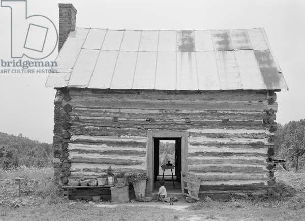 Sharecropper house with child on steps, North Carolina, 1939 (b/w photo)