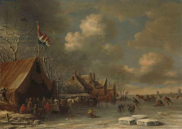Enjoying the Ice, 1677 (oil on canvas)