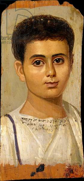 Portrait of the Boy Eutyches, 100-150 AD (encaustic on wood, paint)