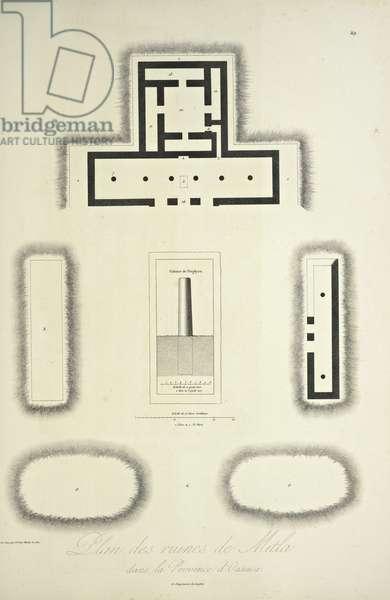 Plan of the Ruins of Mitla in the Province of Oaxaca, illustration from 'Vues des Cordillères et Monumens des Peuples Indigènes de l'Amérique' by Alexander von Humboldt and Aime Bonpland, 1813 (engraving)
