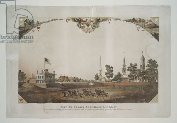 View of public square, Atlanta, Ga., 1864 (colour litho)