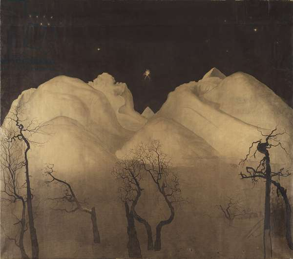 Winter Night in the Mountains. study, 1902-2 (charcoal and w/c on paper)