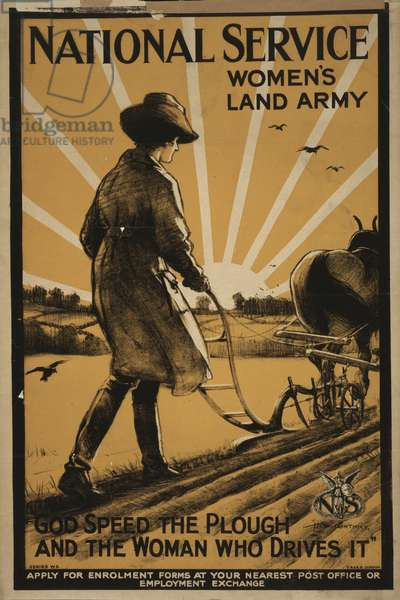 National Service Women's Land Army, 1917 (colour lithograph)