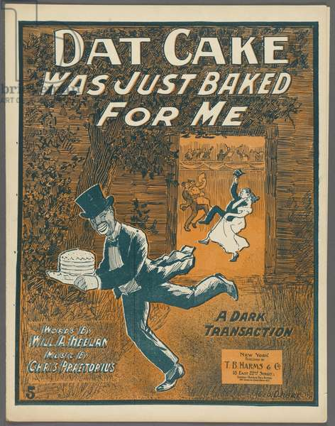 Frontispiece for 'Dat Cake was just baked for me' by Will A. Heelan and Chris Praetorius, c.1898 (colour litho)