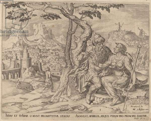 Judah giving Tamar the pledge, c.1566 (engraving)