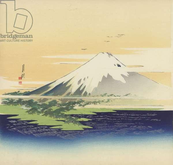 Fuji from the beach at Mio, 1900-10 (woodblock print)