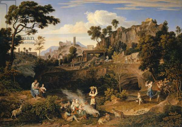 Landscape near Olevano with a Parade of Dancing Peasants, 1823-24 (oil on canvas)