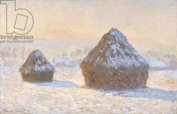 Wheatstaks, snow Effect, Morning, 1891 (oil on canvas)