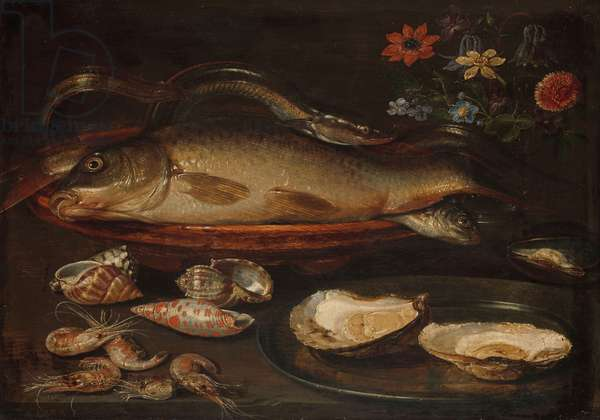 Still life with fish, oysters and shrimps, c.1620-50 (oil on panel)