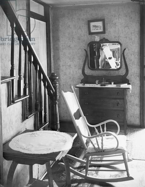 Interior of unemployed man's house in Morgantown, West Virginia, 1935 (b/w photo)