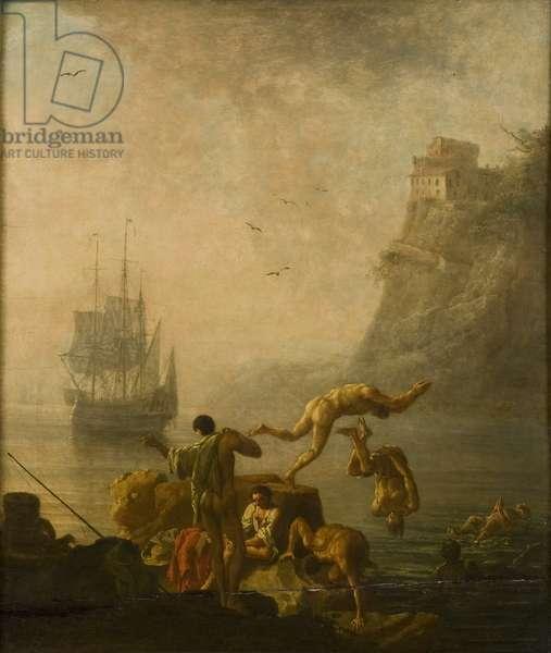 Bathing Men (oil on panel)