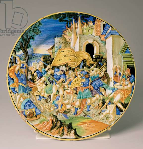 Plate with the Battle of Roncevaux, 1533 (maiolica)