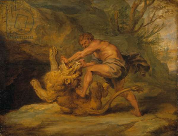 Samson and the Lion, c.1640 (oil on wood)