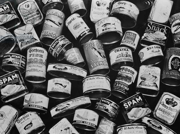 Canned meat and canned fish, all rationed, 1943 (b/w photo)