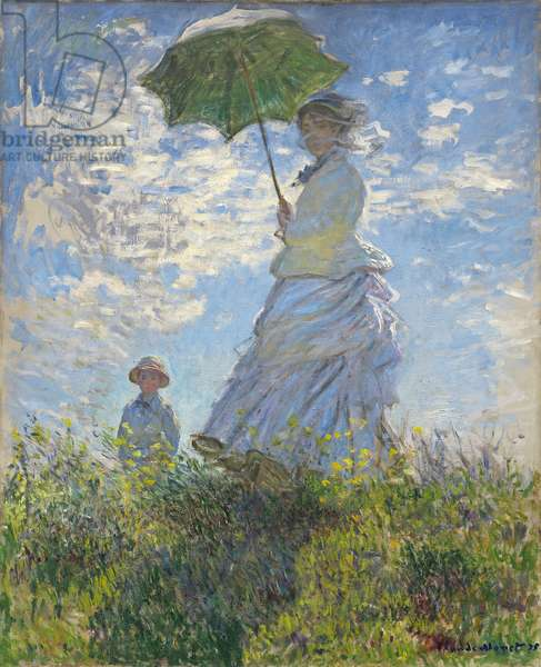 Woman with a Parasol - Madame Monet and Her Son, 1875 (oil on canvas)