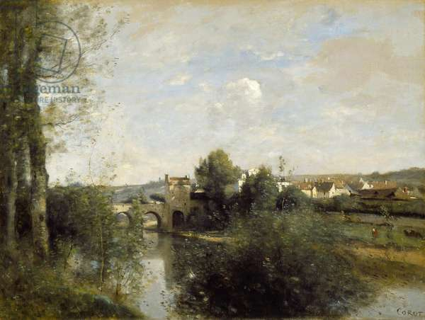 Seine and Old Bridge at Limay, 1872 (oil on canvas)