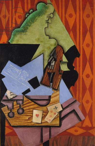 Violin and Playing Cards on a Table, 1913 (oil on canvas)