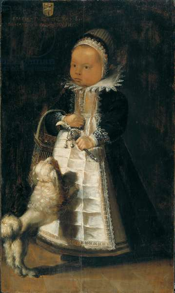 Portrait of a Girl with a Dog, c.1610 (oil on wood)