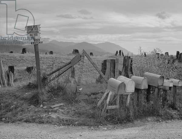 Crossroads off the highway in Idaho, 1939 (b/w photo)