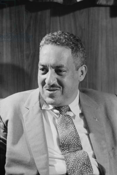 Thurgood Marshall, attorney for the NAACP, 1957 (b/w photo)