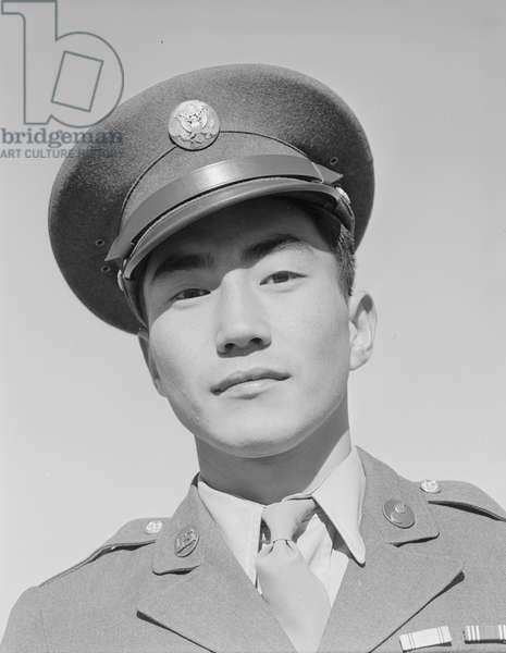 Corporal Jimmie Shohara, Manzanar Japanese American Internment Camp, California, 1943 (b/w photo)